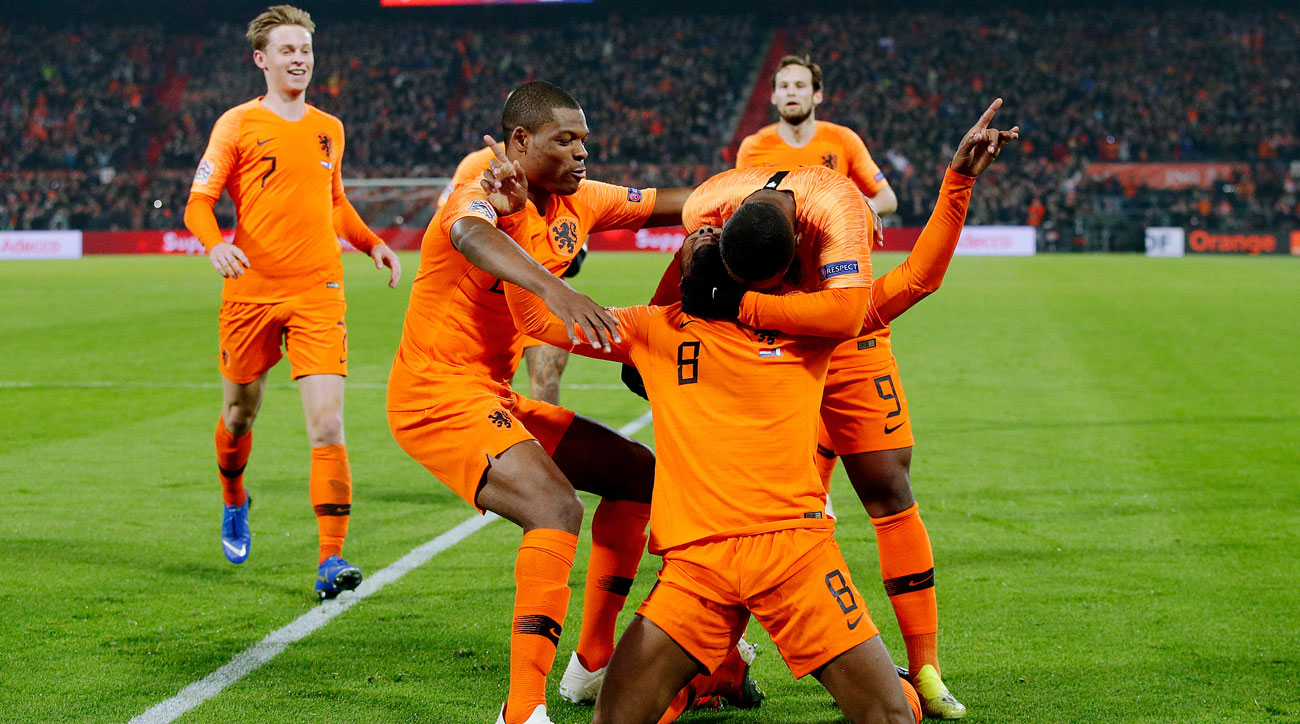 Georginio Wijnaldum scores for the Netherlands vs. France in the Nations League