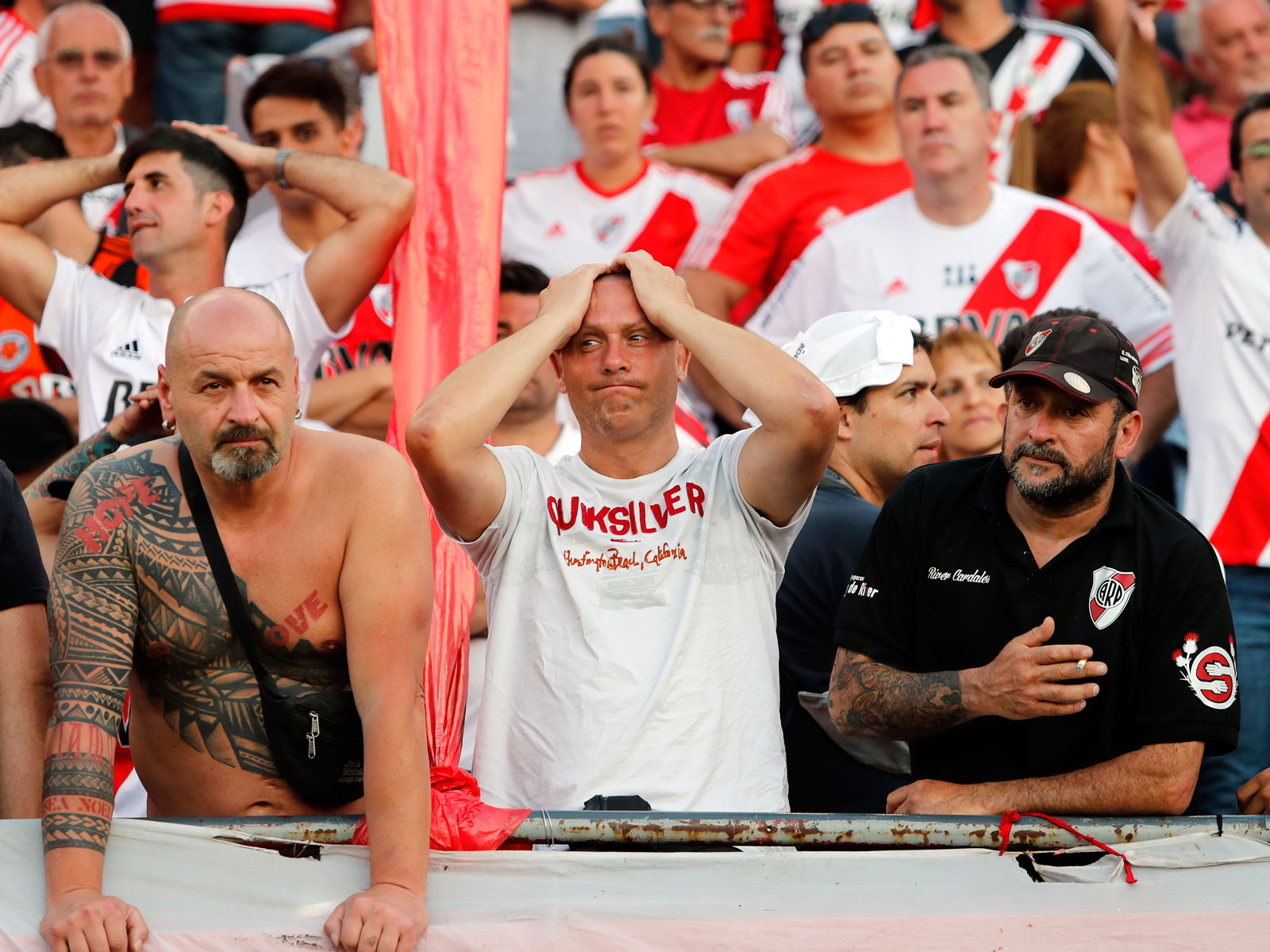 River Plate fans react to the postponement of the Copa Libertadores final