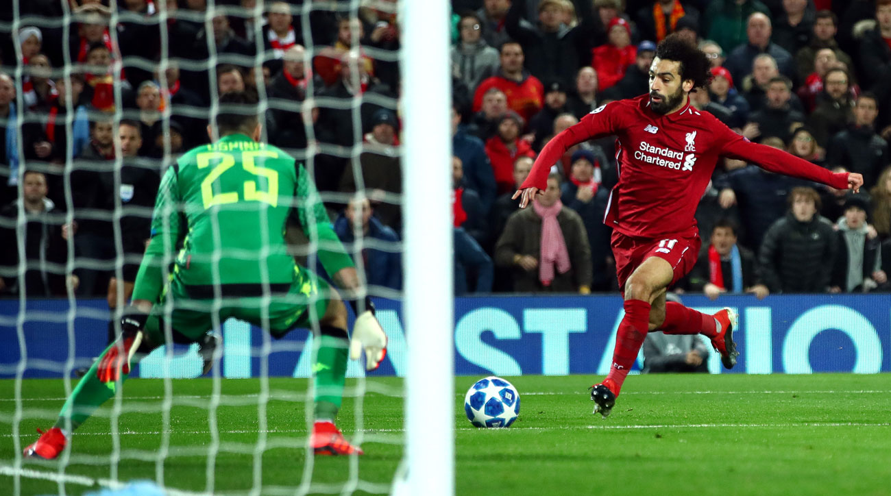 Mohamed Salah scores for Liverpool in Champions League