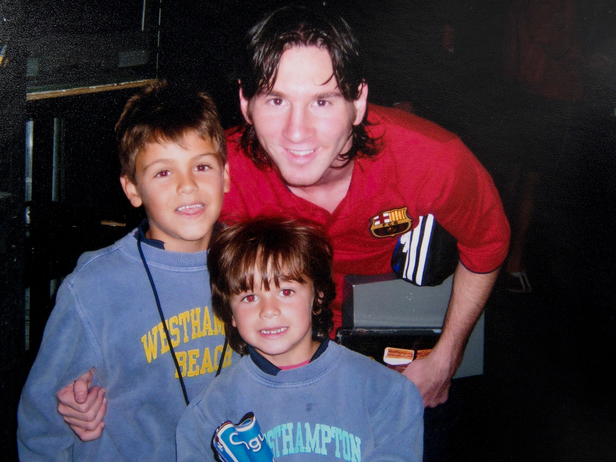 Lionel Messi with Jack and Giovanni Reyna