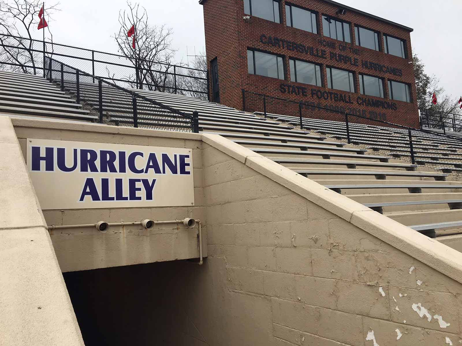 Weinman Stadium is the home to the Cartersville High Hurricanes.The school is constructing a $5.8 million new athletic complex next to the stadium, primarily for football.