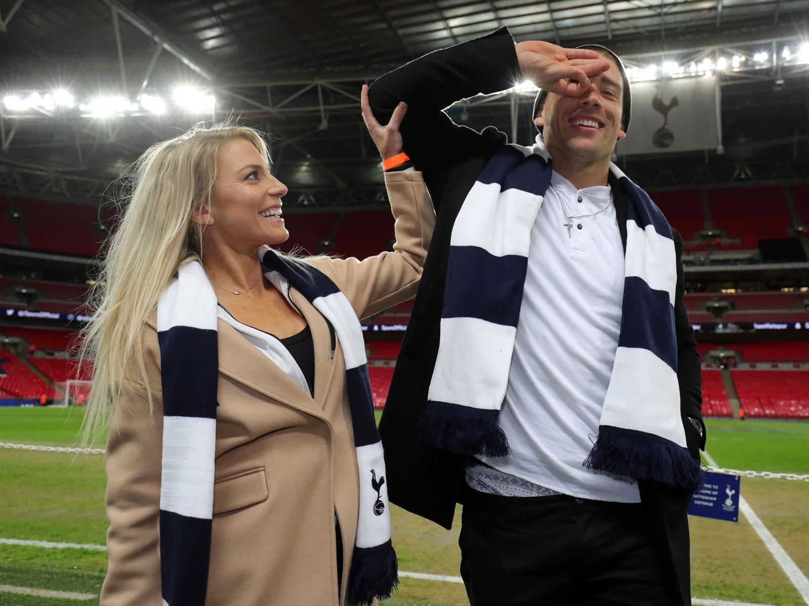 Julie and Zach Ertz at Wembley Stadium before Tottenham plays Manchester City