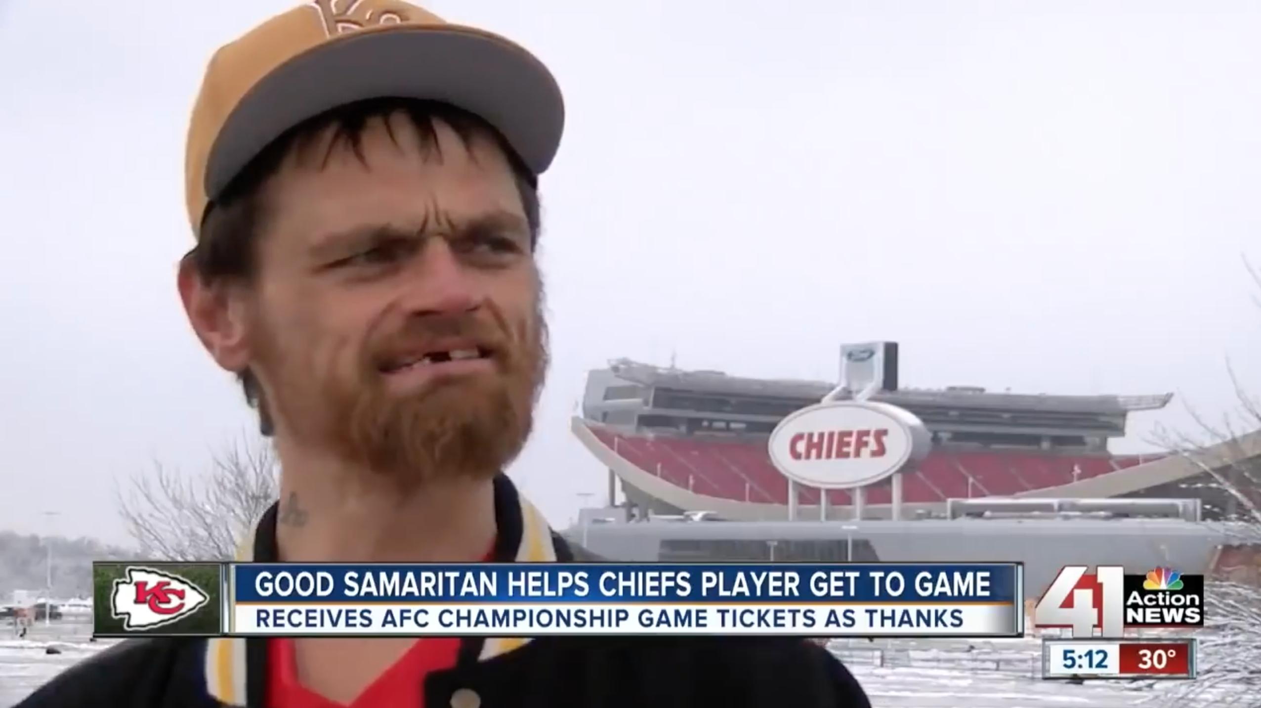 Chiefs fan who helped Jeff Allen is homeless (video interview)