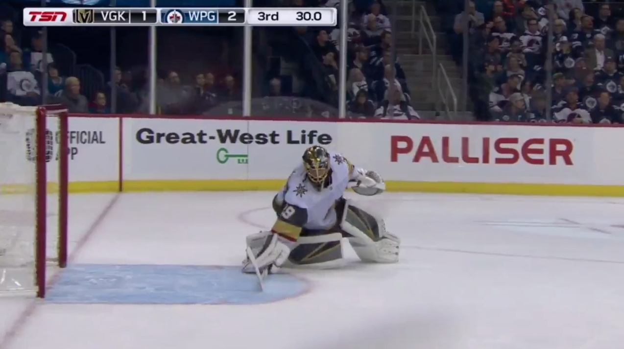 Golden Knights' Marc-Andre Fleury caught piling snow (video)