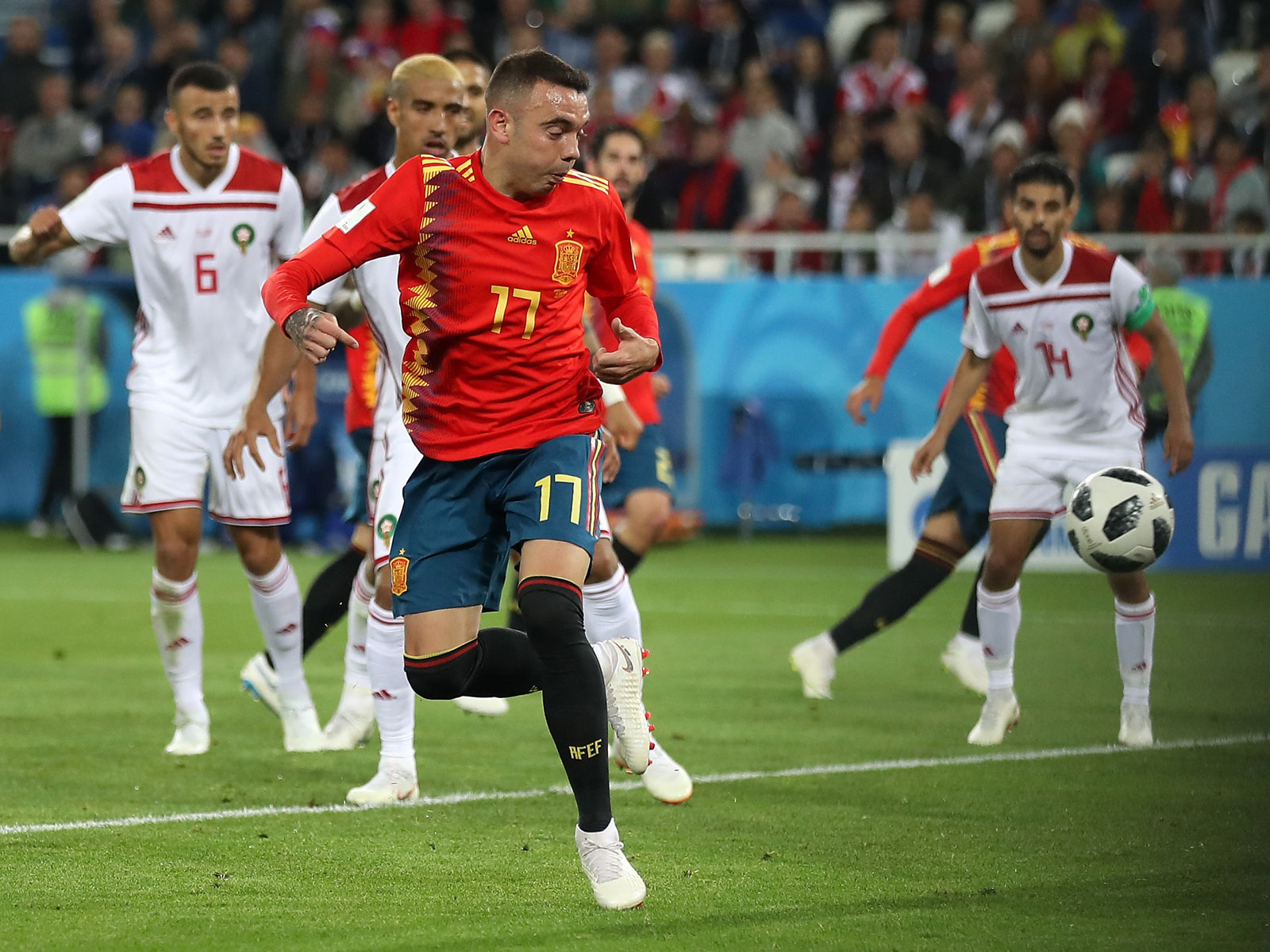 Iago Aspas scores for Spain vs. Morocco in the 2018 World Cup