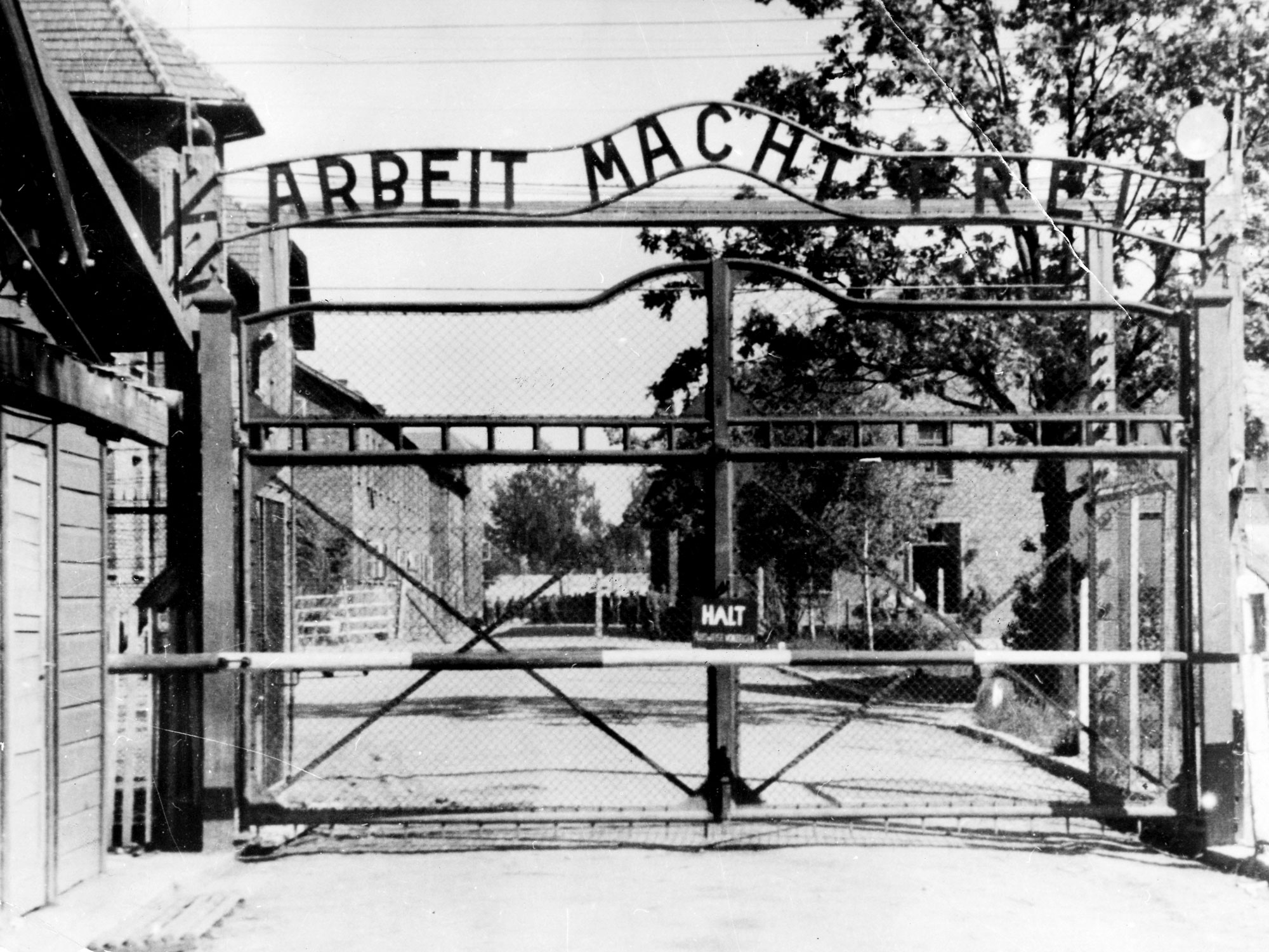 The gate to Auschwitz, a Holocaust concentration camp