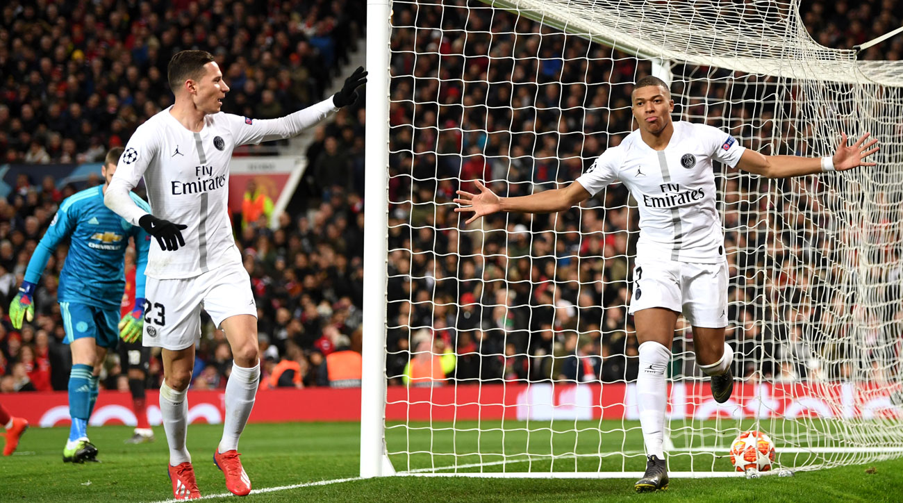 Kylian Mbappe scores for PSG vs. Man United in Champions League