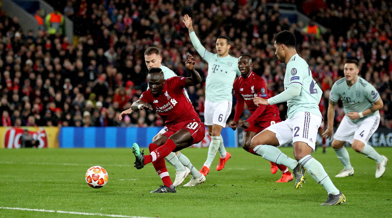Sadio Mane fires a shot for Liverpool vs. Bayern Munich in Champions League