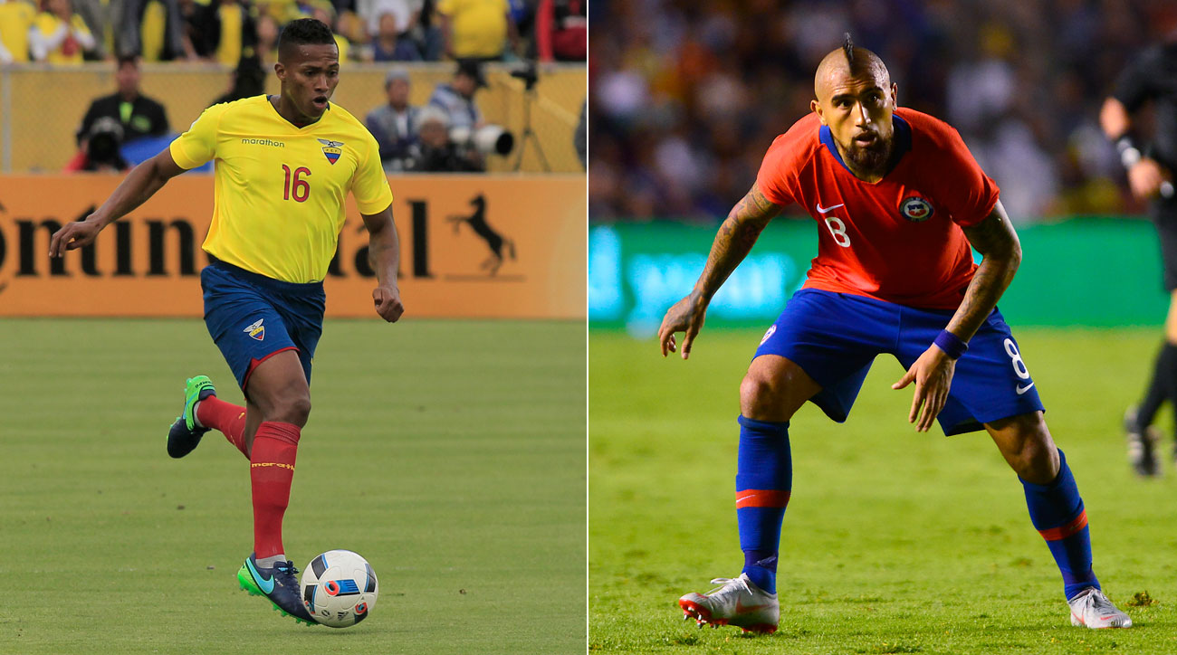Antonio Valencia and Arturo Vidal will play for Ecuador and Chile vs. the USA