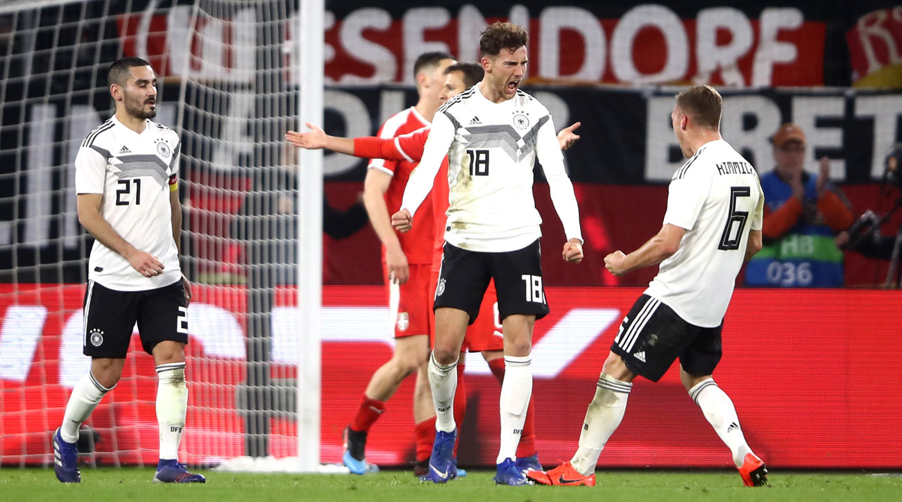 Leon Goretzka scores for Germany vs. Serbia in a friendly