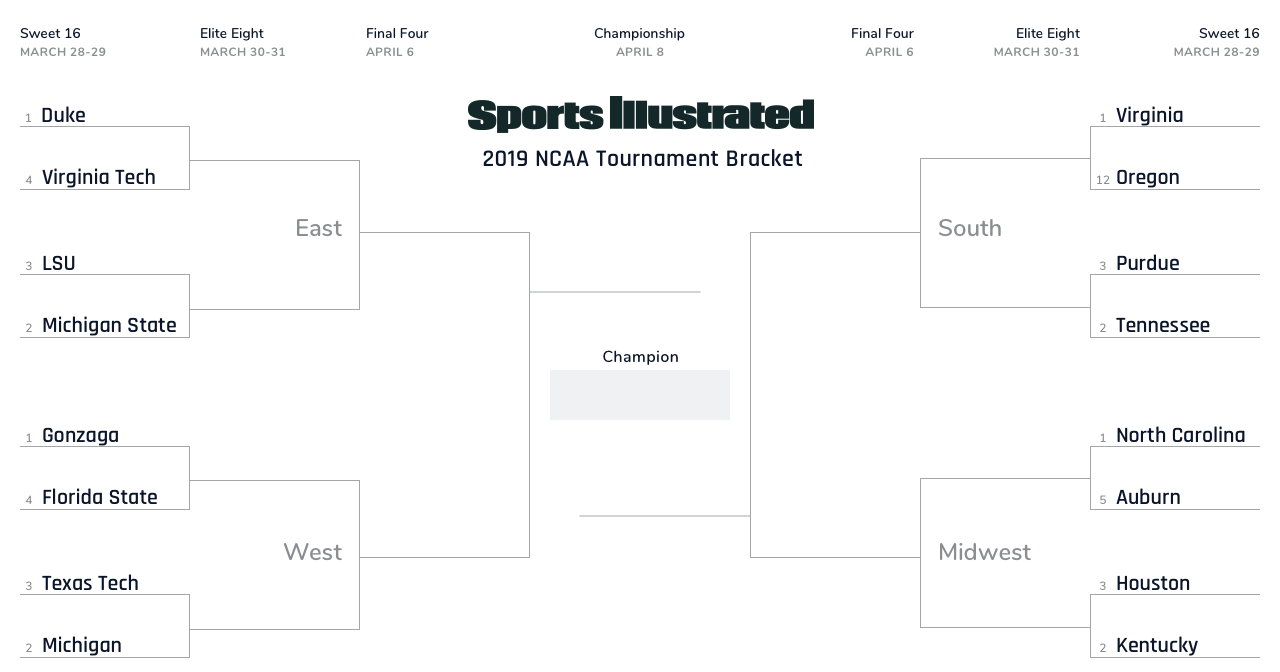 March Madness Sweet 16 Full Schedule, Bracket Matchups