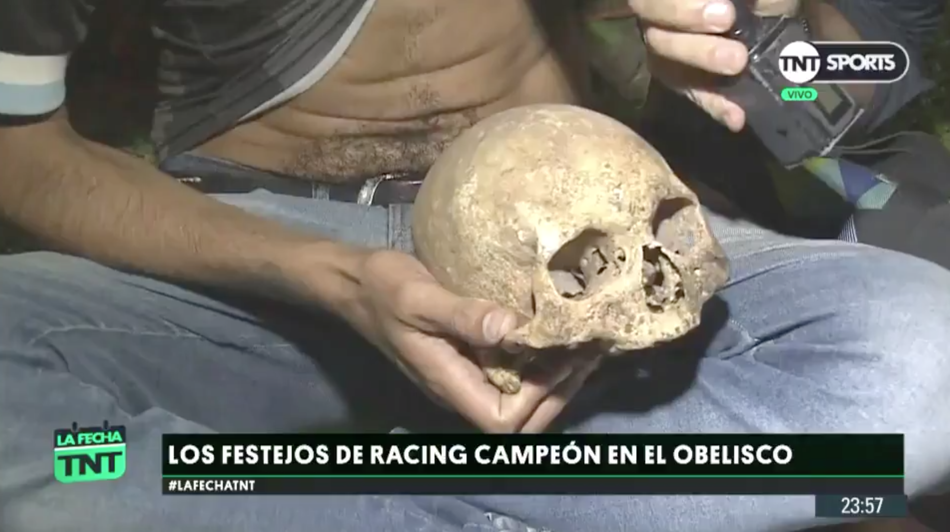 Racing Club: Argentina soccer fan celebrates with skull (video)