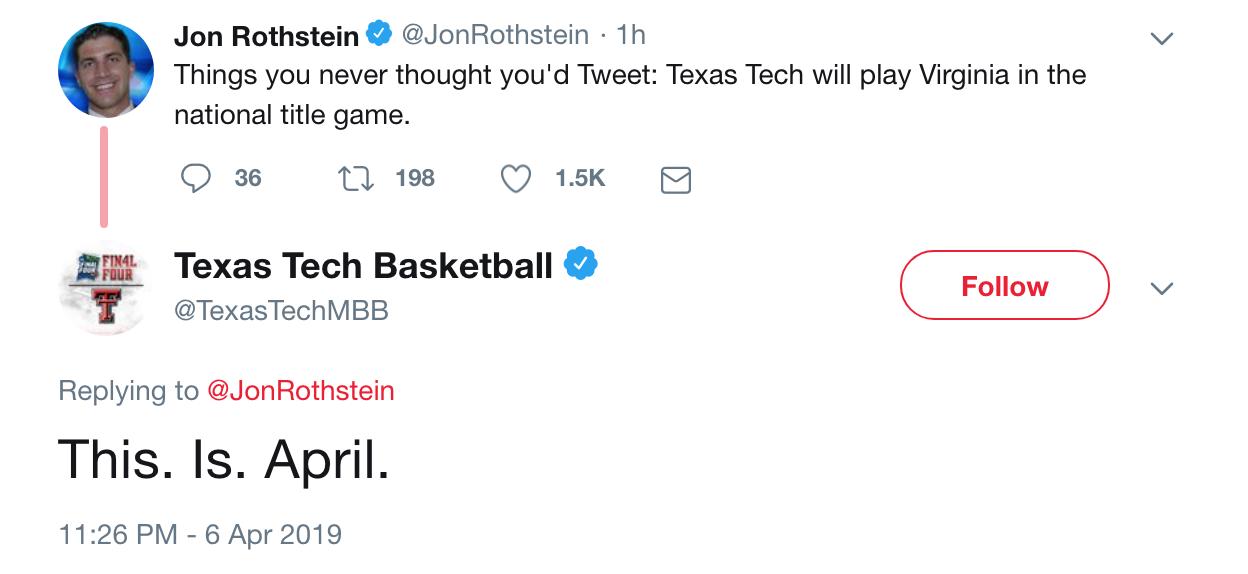 Texas Tech basketball 2019 Final Four This is March Jon Rothstein