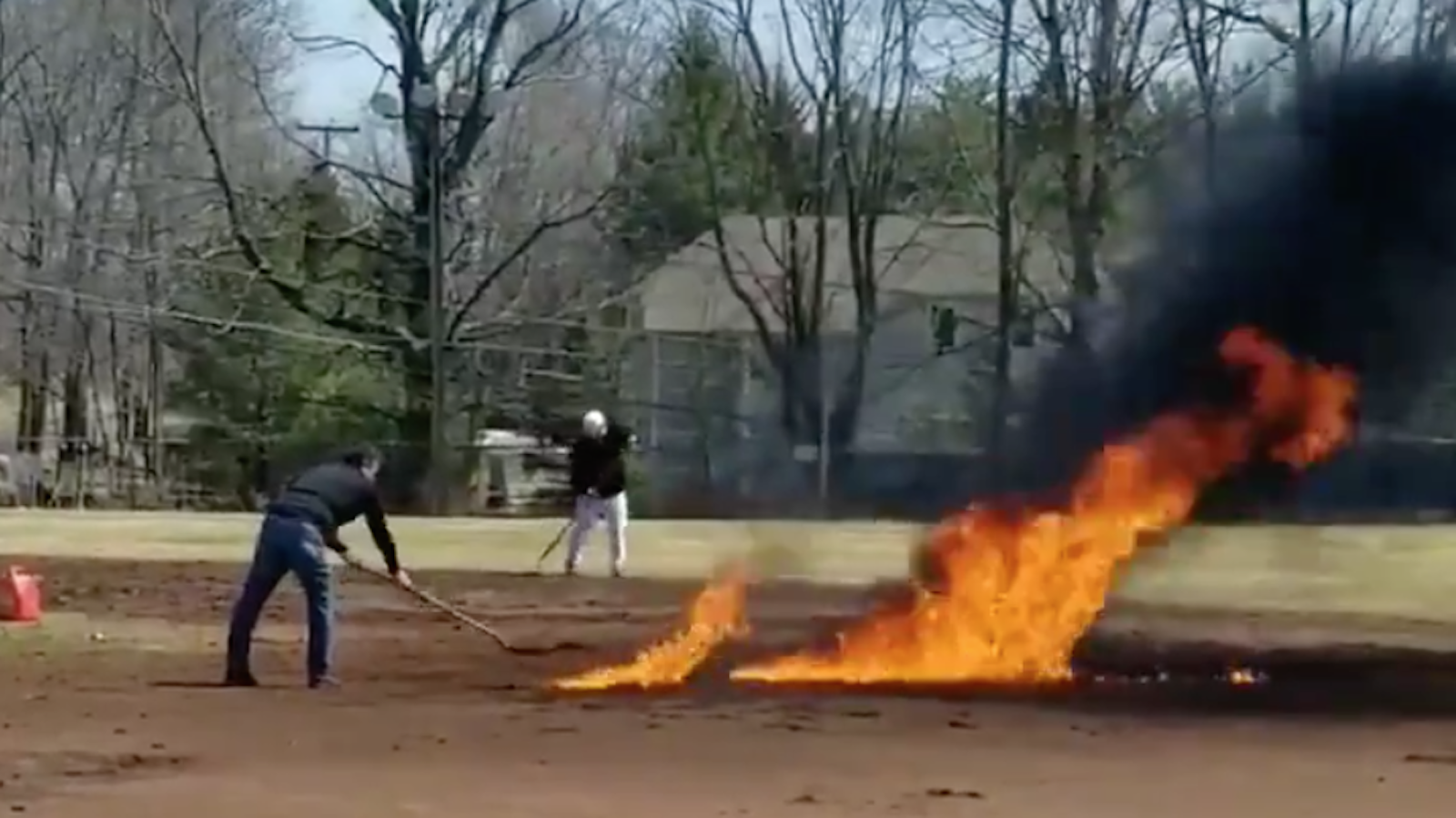 Baseball field destroyed by gasoline in Ridgefield, CT (video)