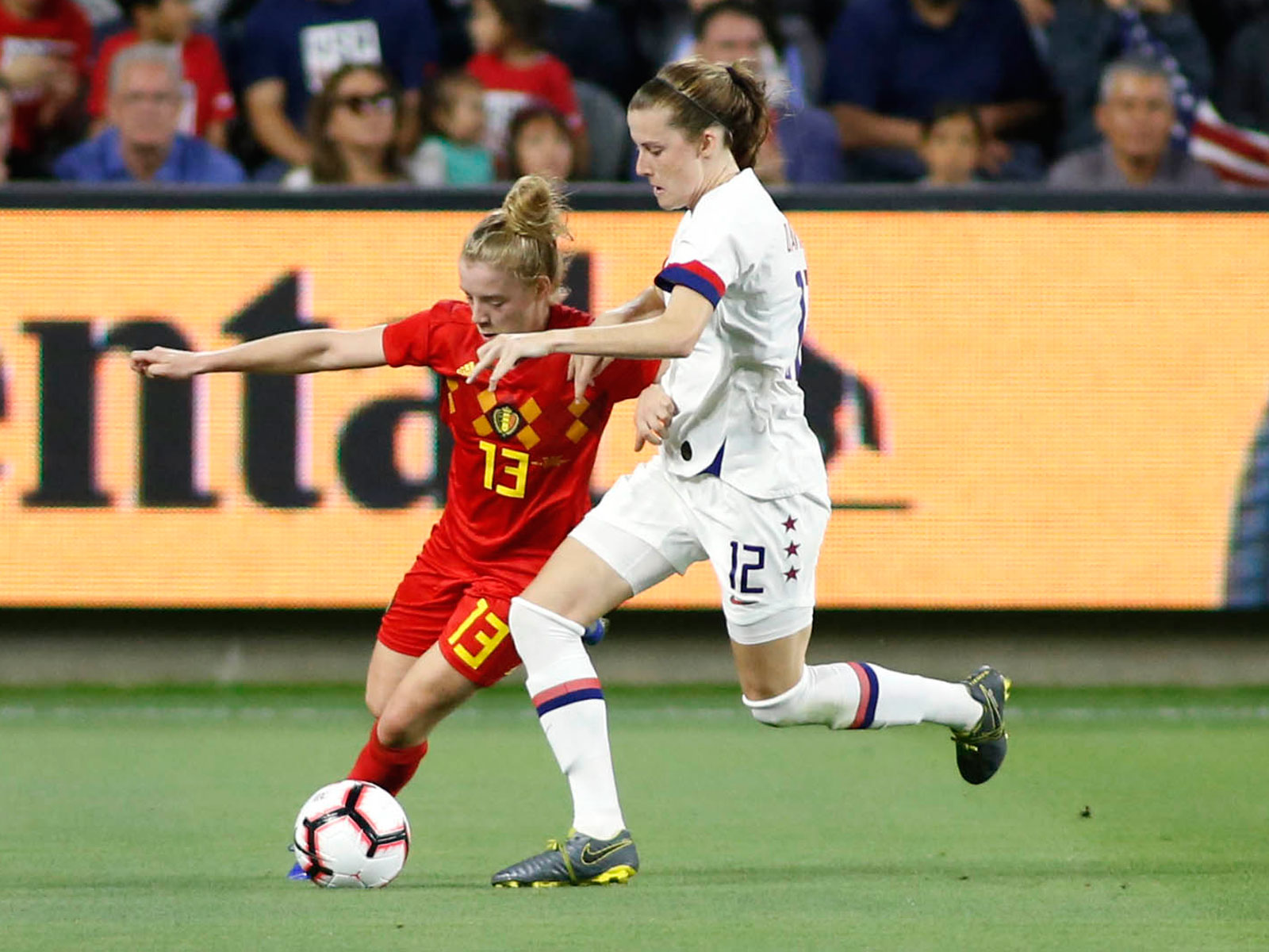 Tierna Davidson defends in the USWNT's win over Belgium
