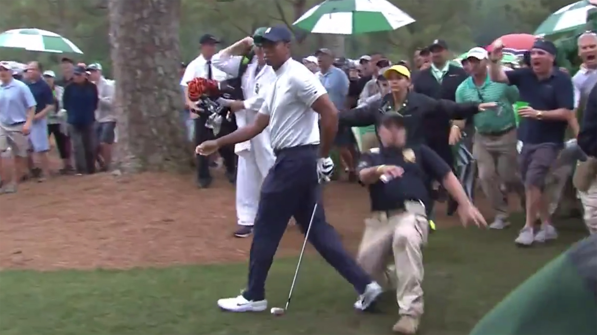 Tiger Woods fall masters augusta national security guard