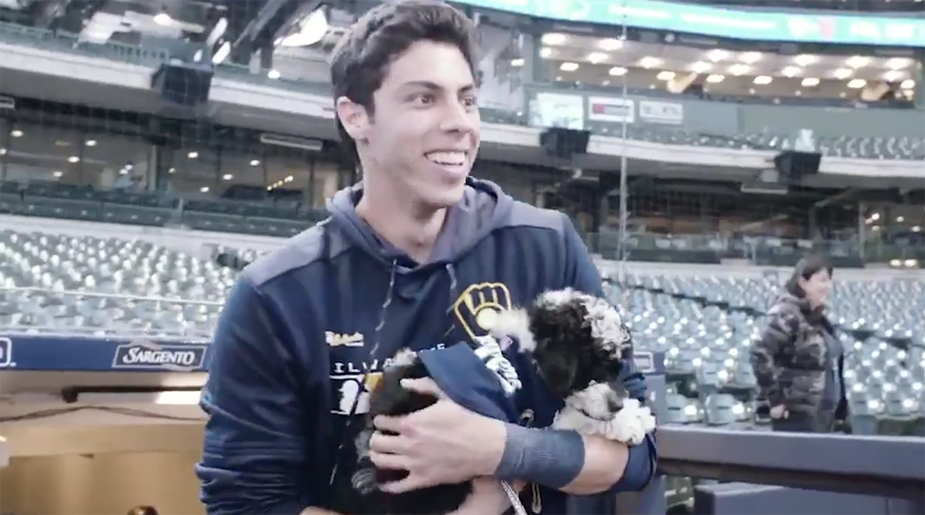 christian yelich, Brewers, Milwakee brewers, christian Yelich puupy, yeli