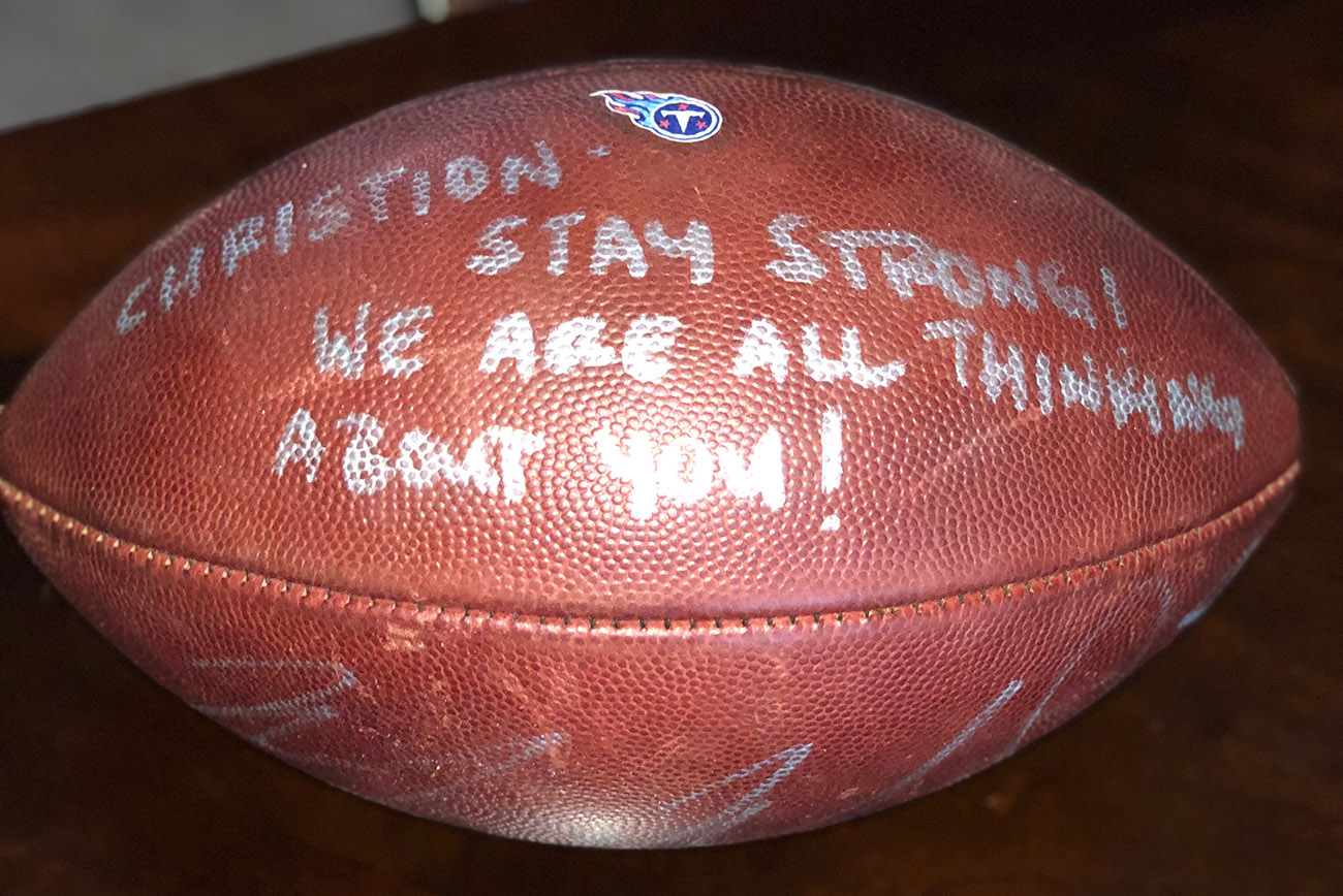 Marcus Mariota autographed ball for Christion Abercrombie