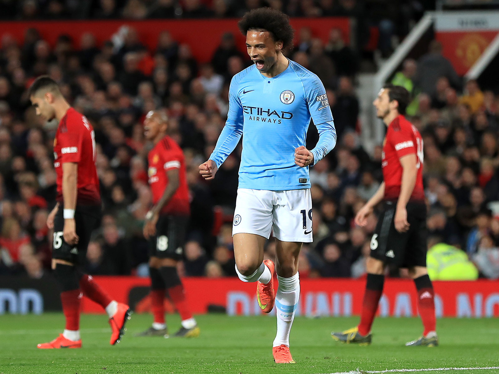 Leroy Sane scores for Man City vs. Man United