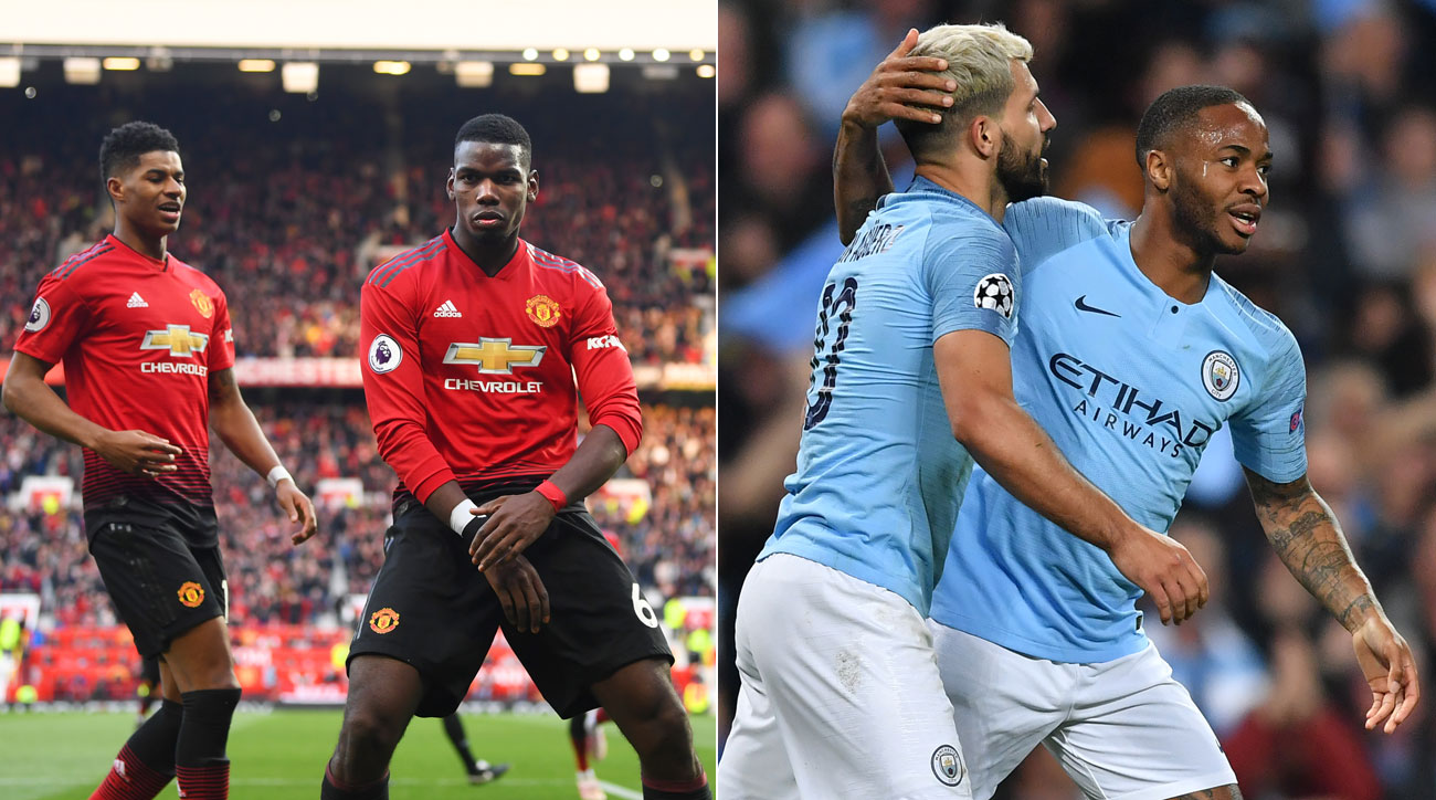 Manchester United hosts Manchester City in the Premier League