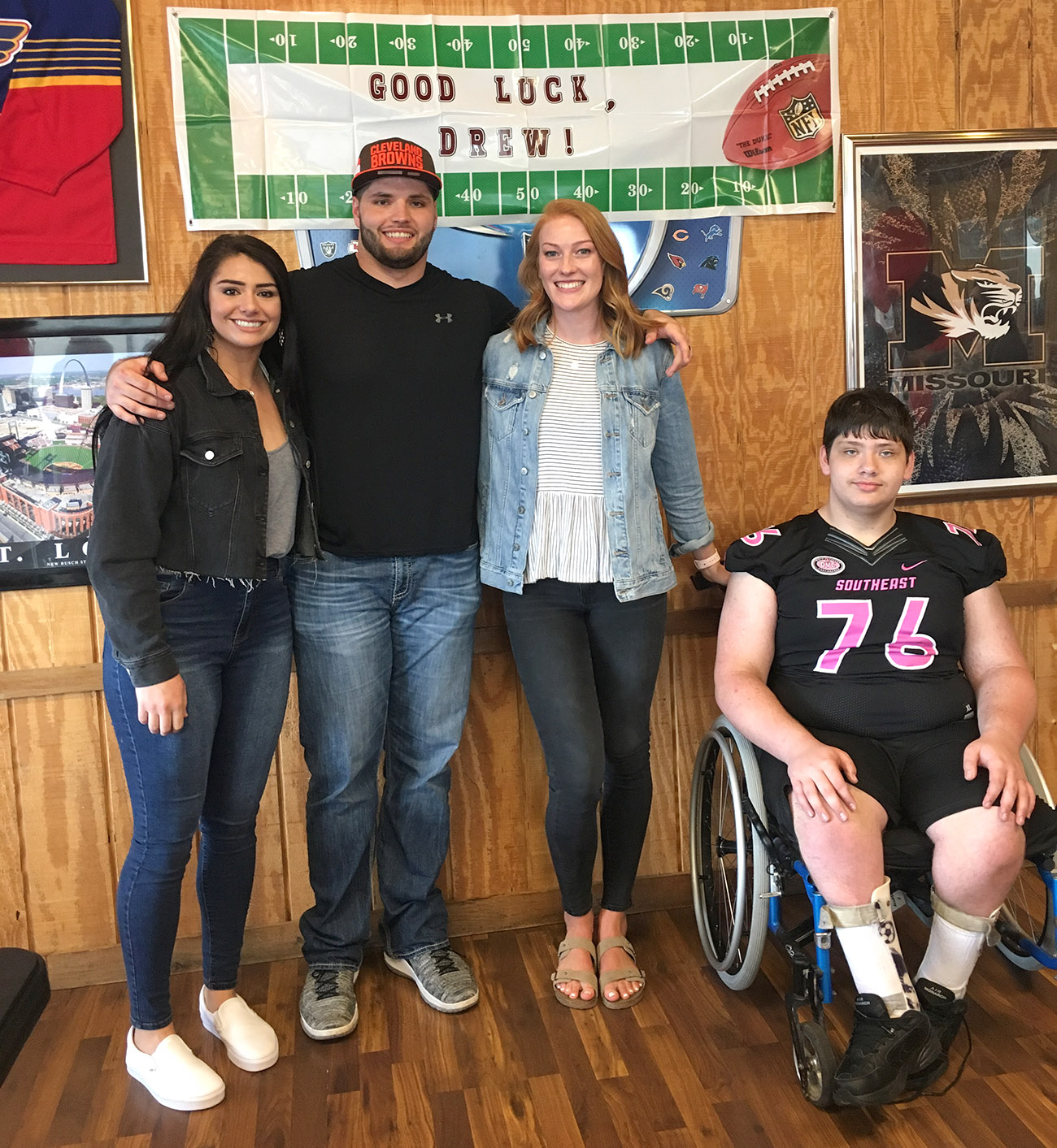 Browns rookie Drew Forbes, wife Emily, sister Holly and brother Brett