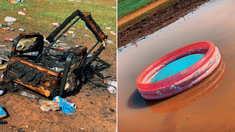 Talladega Superspeedway: Photos of trash left on infield
