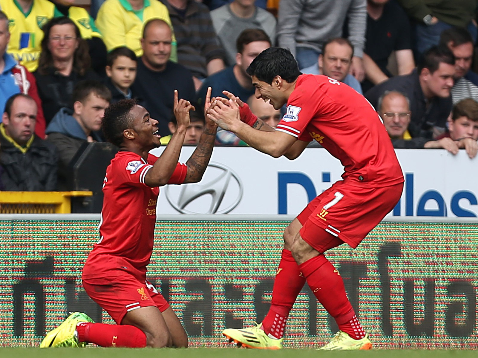 Luis Suarez and Raheem Sterling with Liverpool in 2014