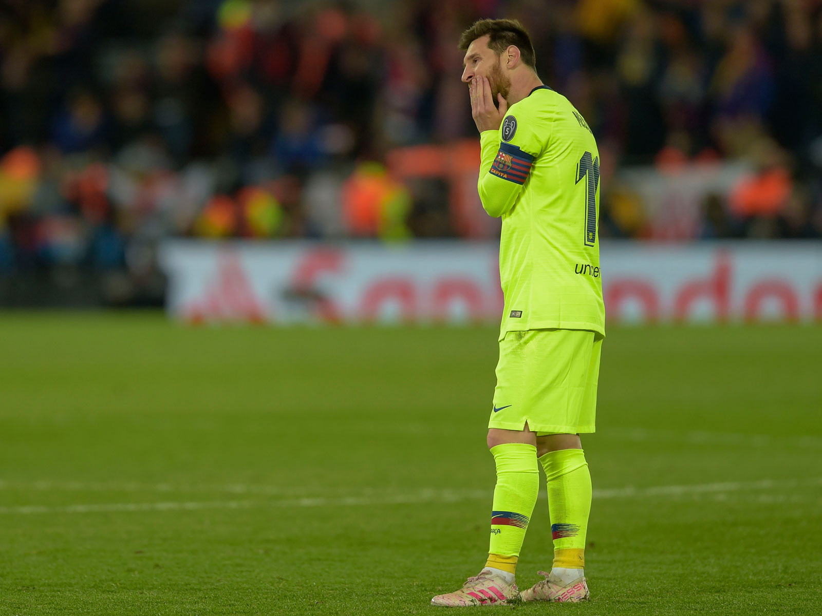 Lionel Messi is stunned after another Barcelona collapse in Champions League