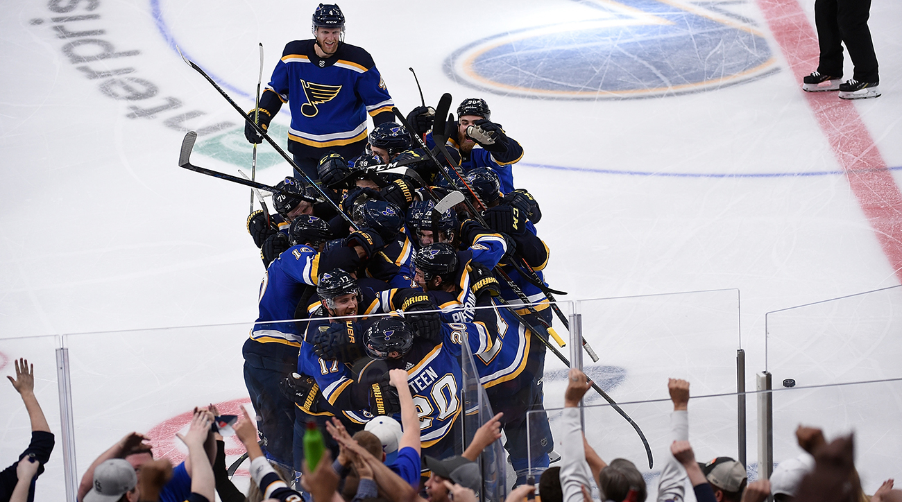 Blues celebrate Game 7 win over Stars