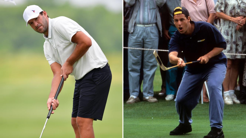 Tony Romo uses Happy Gilmore golf putting stroke at PGA tournament