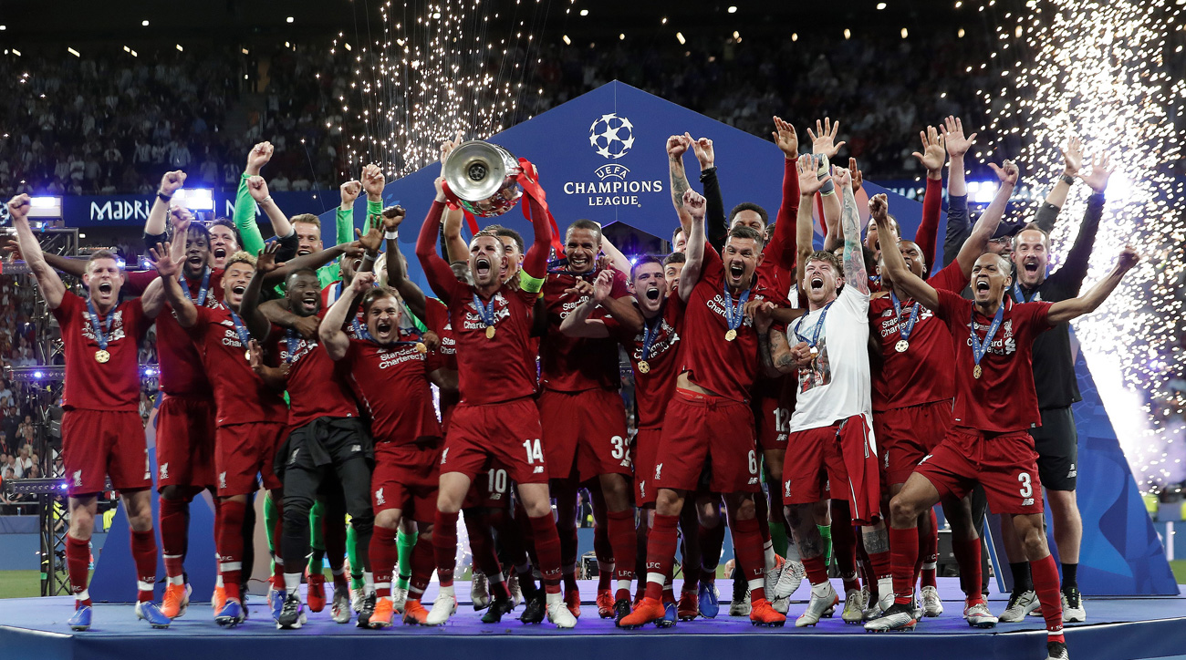 Liverpool lifts the Champions League trophy after beating Tottenham in the final