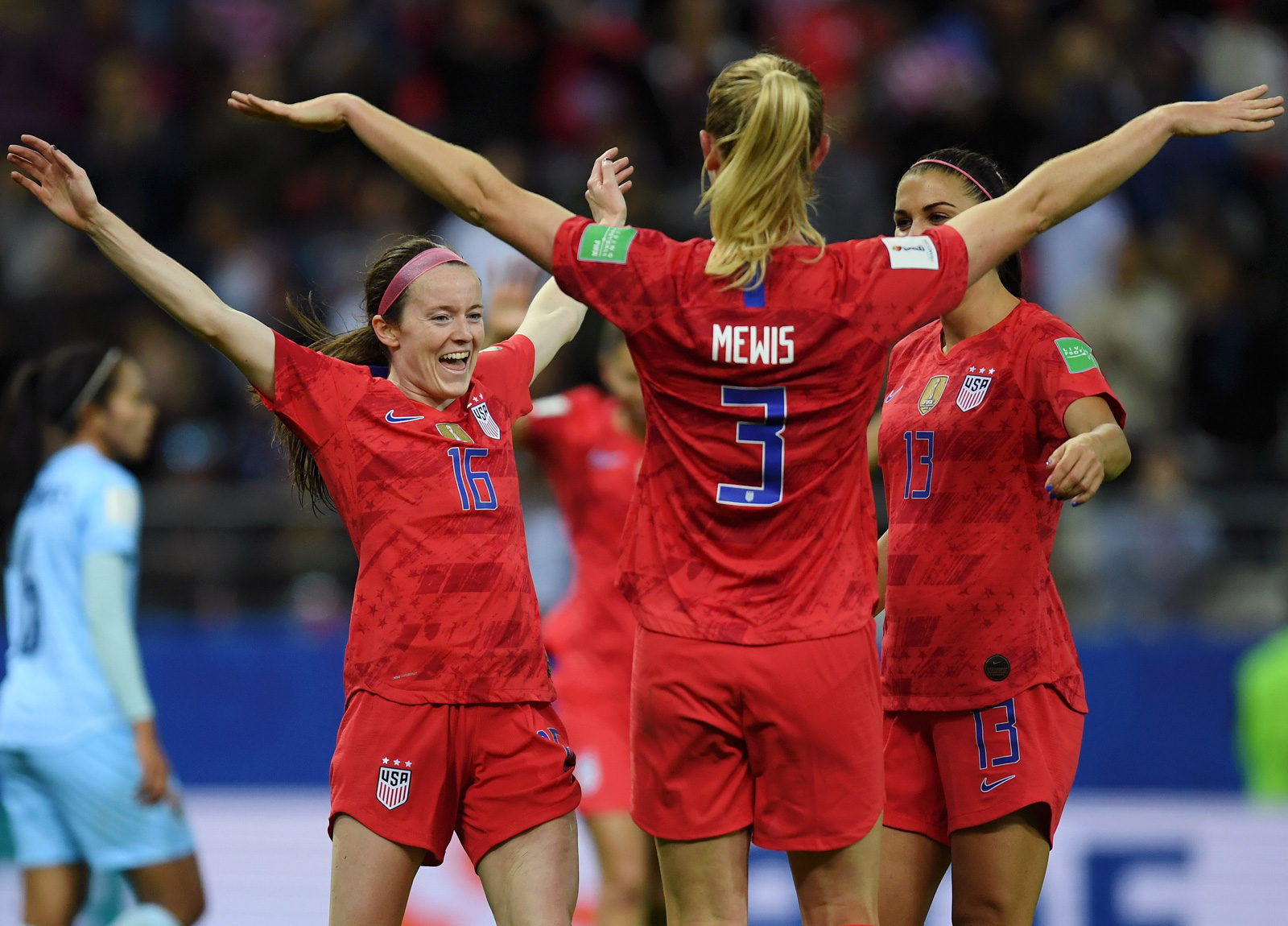 Rose Lavelle, Sam Mewis and Alex Morgan celebrate the USA's 13-0 win over Thailand.