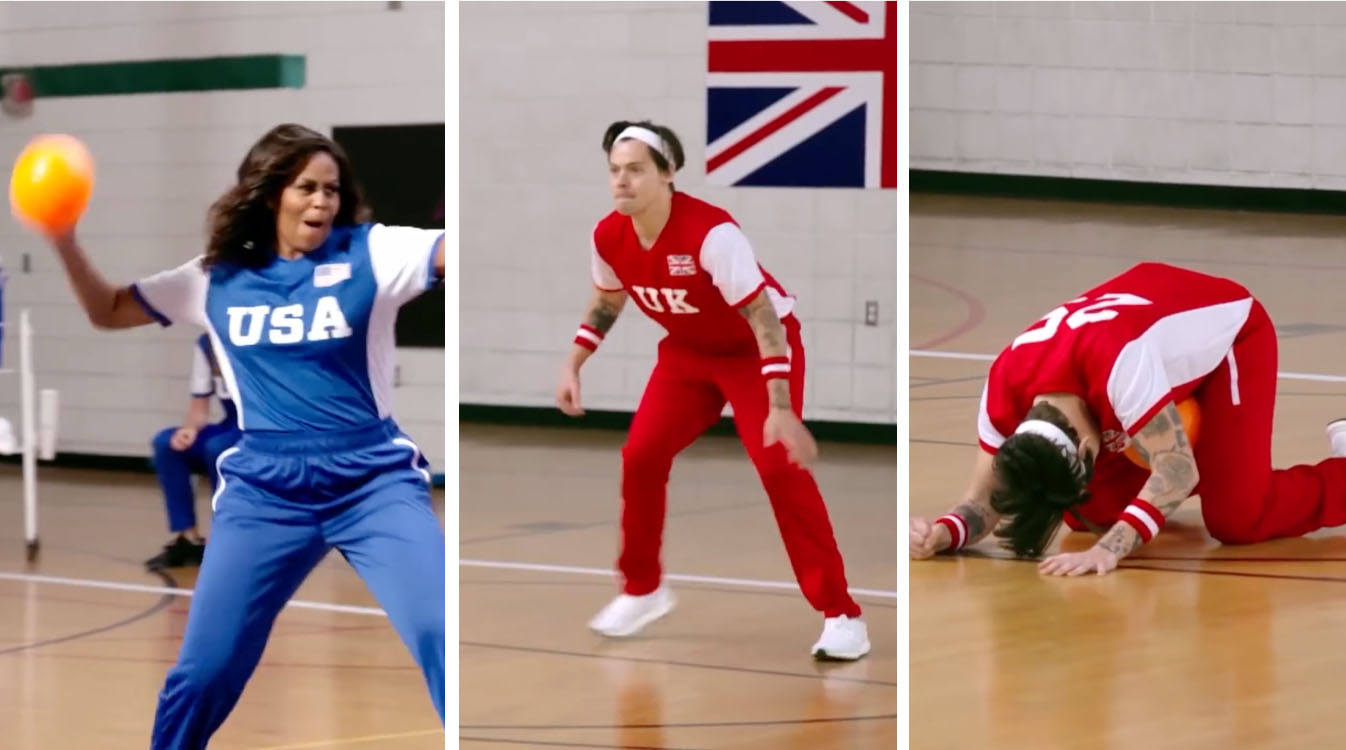 Michelle Obama hits Harry Styles with dodgeball