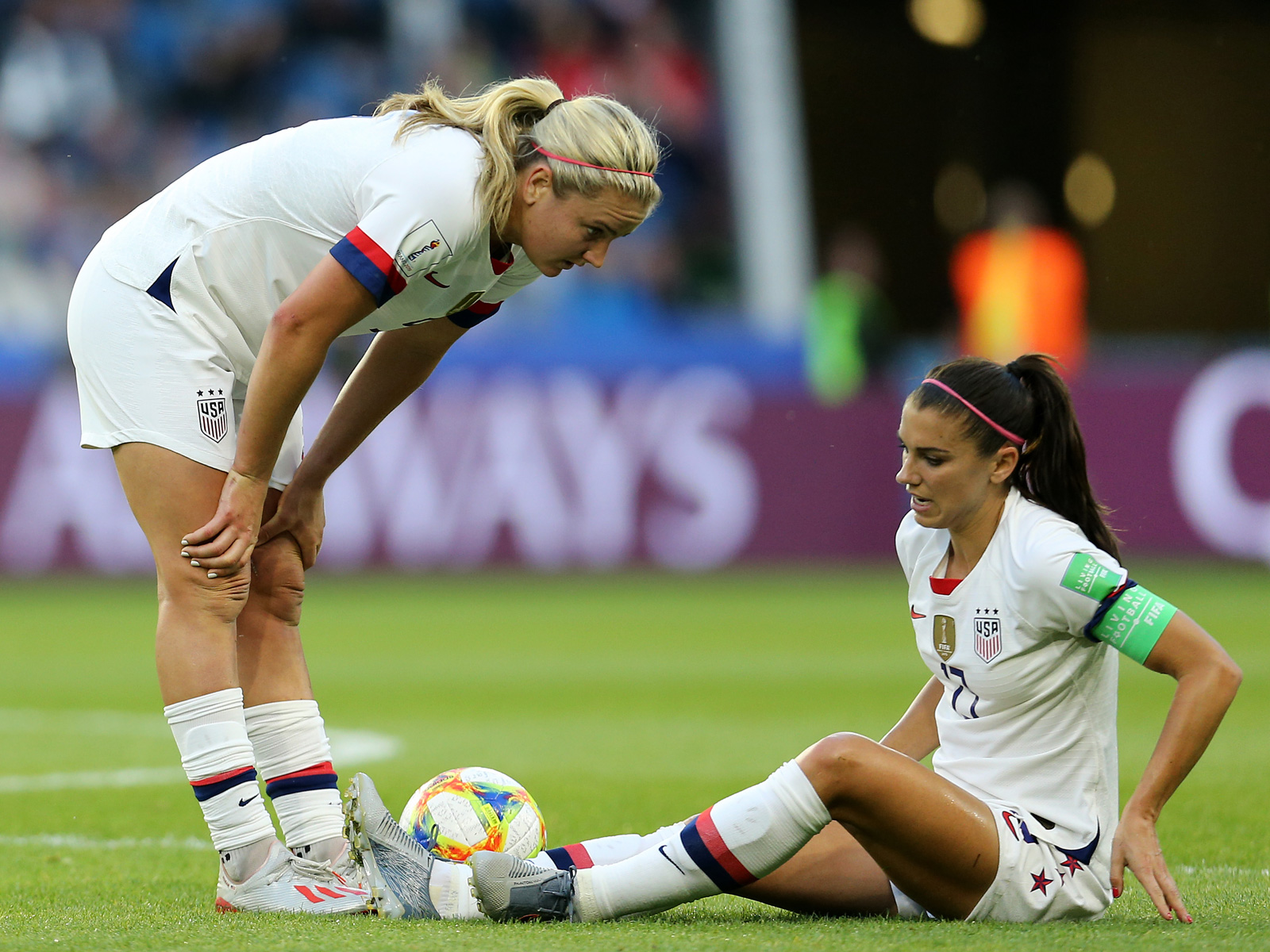 Alex Morgan is hurt in the USA's win over Sweden