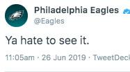 Eagles delete Hate to see it tweet