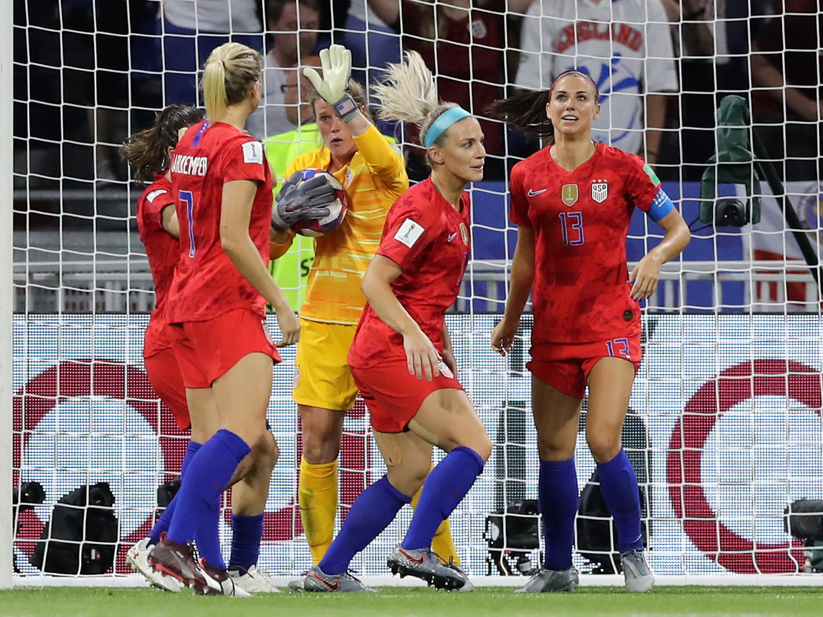 Alyssa Naeher saves a PK for the USA vs. England in the Women's World Cup