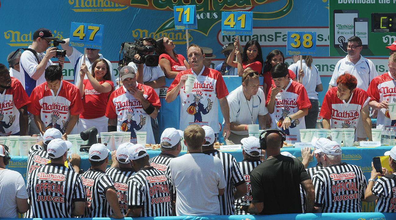 hot dog contest judges joey chestnut