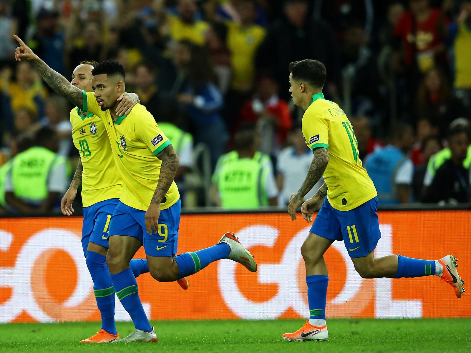 Gabriel Jesus scores for Brazil in Copa America