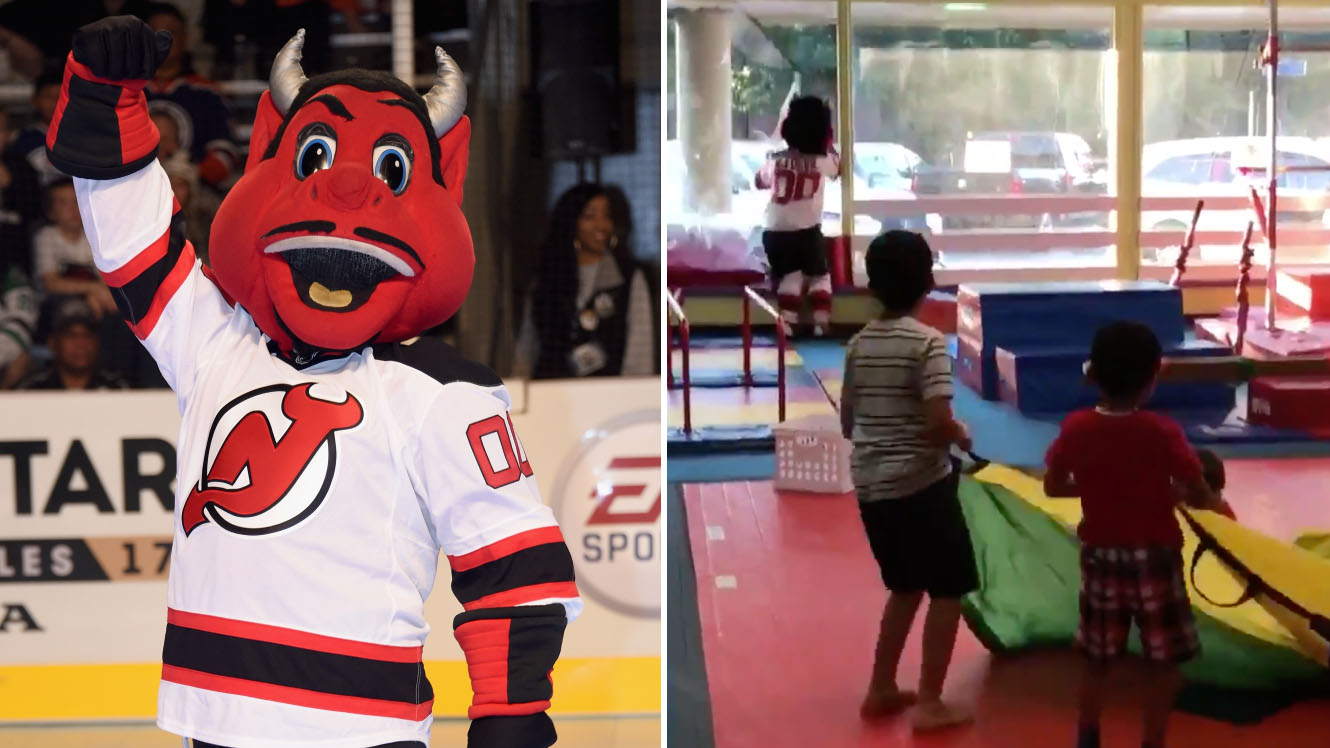 New Jersey Devils mascot destroys window at birthday party (video)