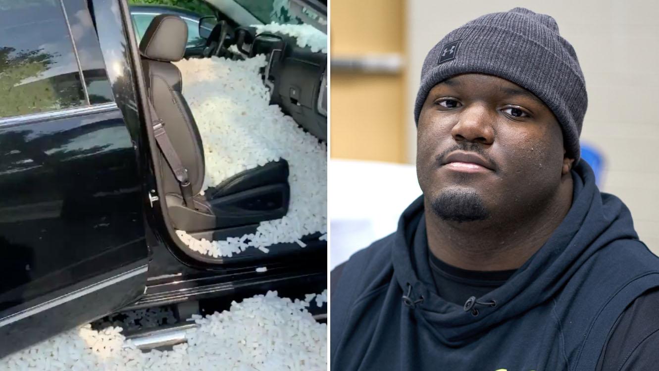 Ravens' Daylon Mack had truck stuffed with packing peanuts (video)