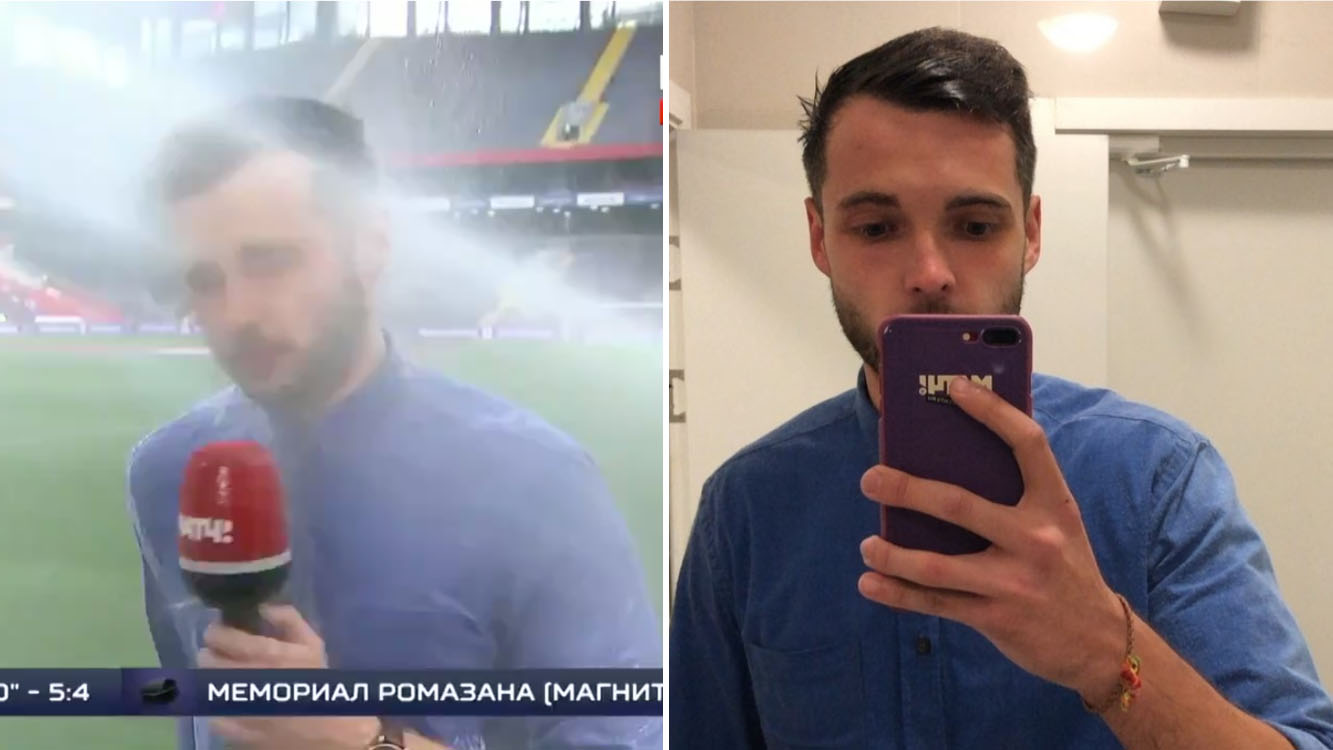 Russian soccer reporter soaked by sprinkler on live TV (video)