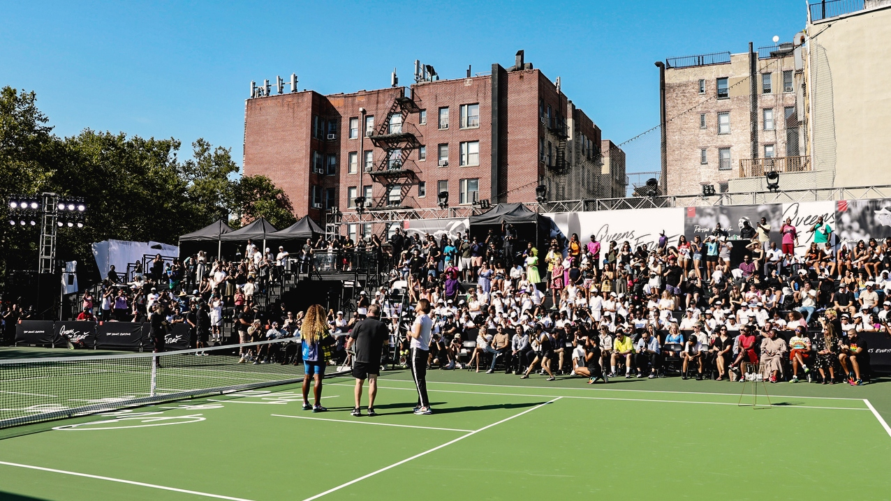 Serena Williams addresses a crowd at a Nike event in Greenwich Village