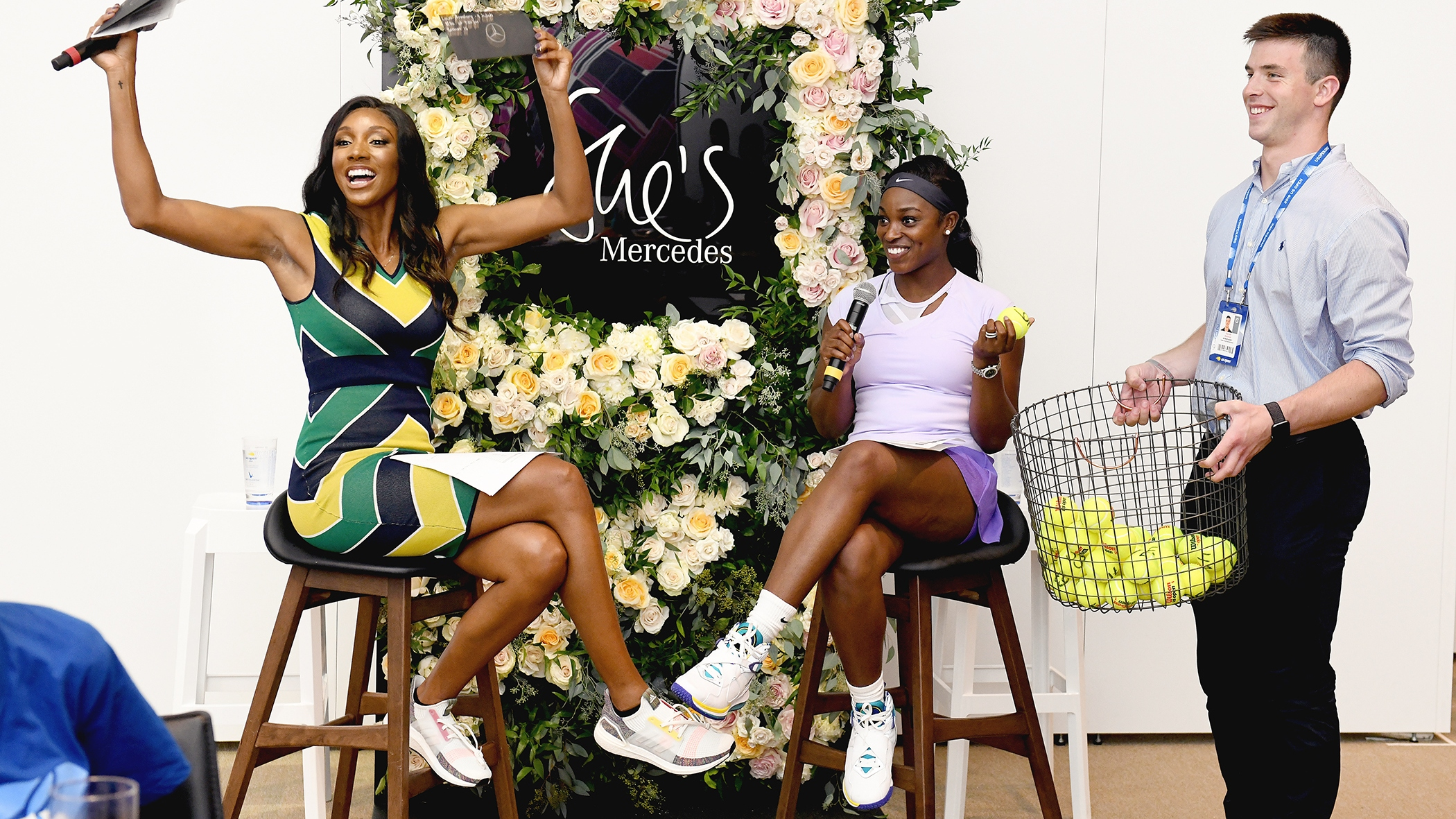 Sloane Stephens and ESPN's Maria Taylor conduct a Q&A at a Mercedes event.