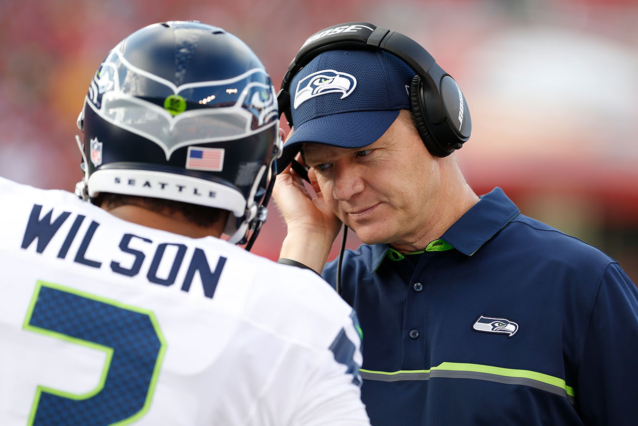 Darrell Bevell and Russell Wilson