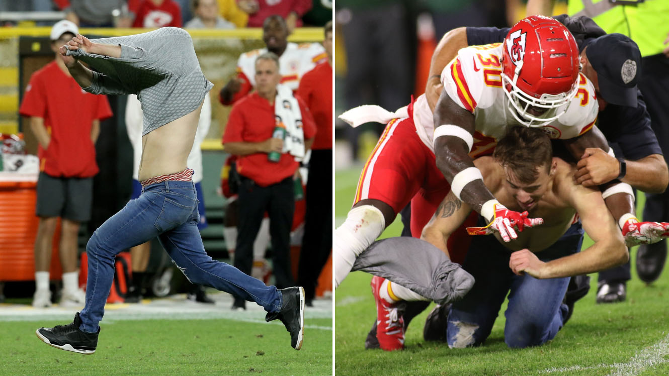 new style abf9e 4fc65 Packers streaker tackled by Chiefs' Harold Jones-Quartey ...