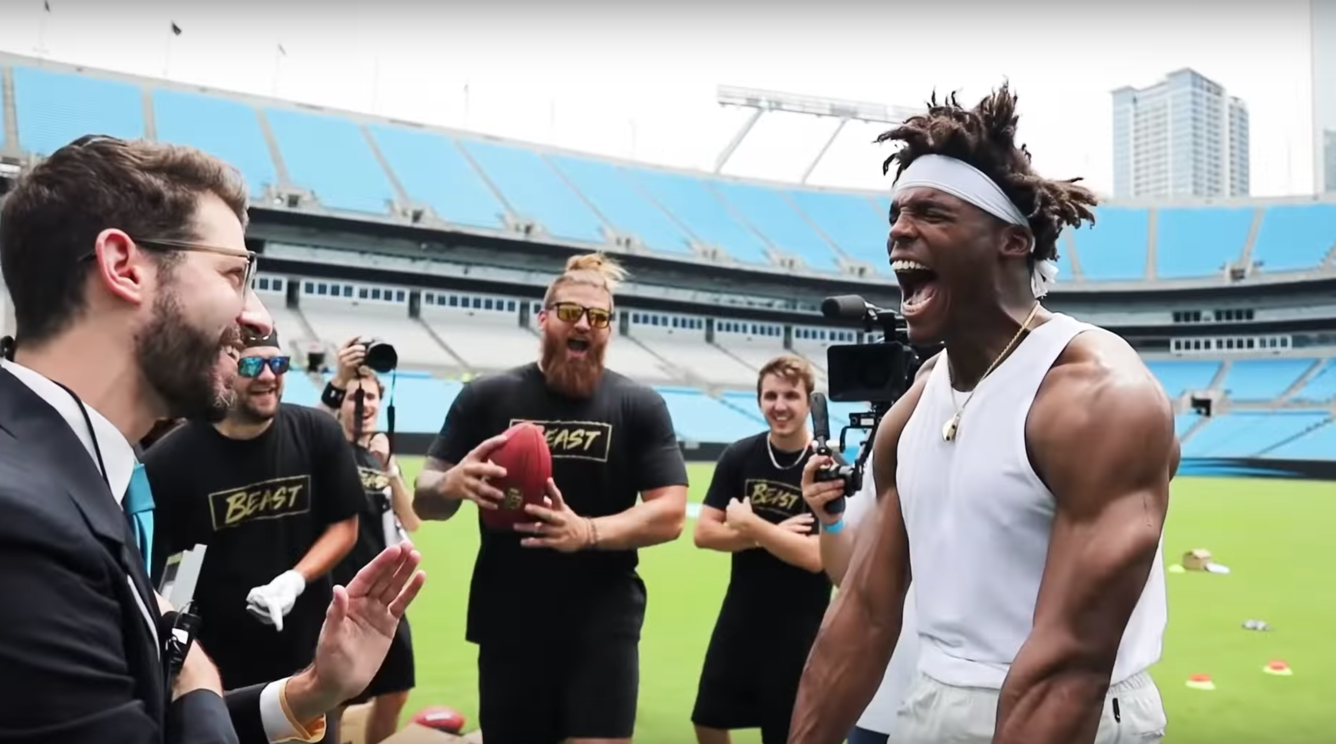nfl, carolina panthers, cam newton, wire, MrBeast, guinness book of world records