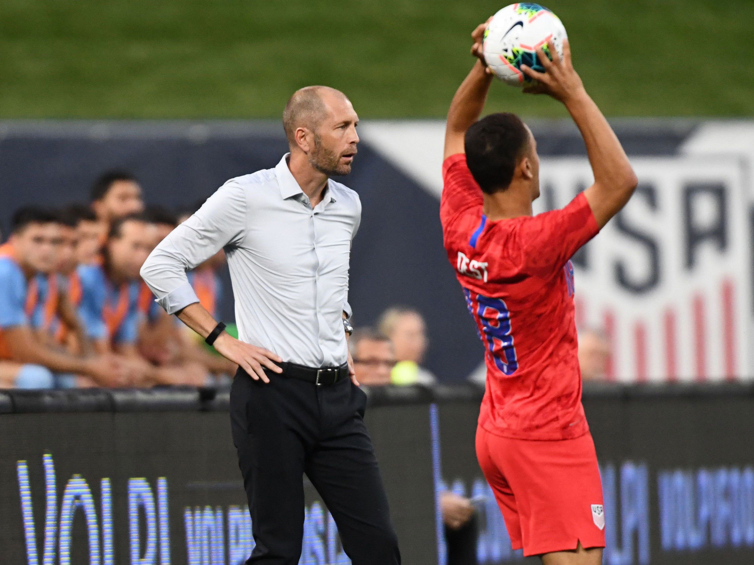 Gregg Berhalter watches the action in the USA's draw vs. Uruguay