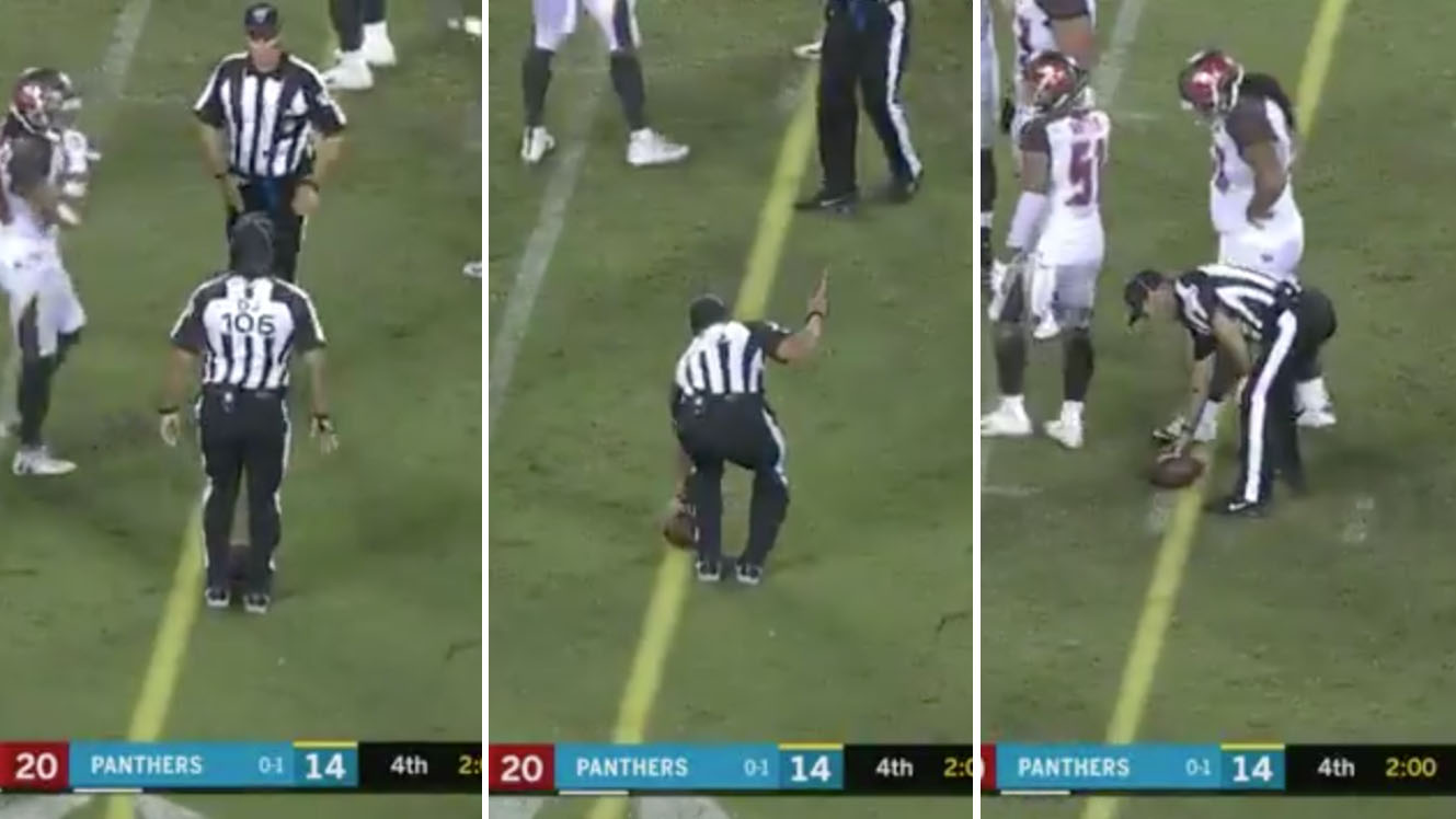 Buccaneers-Panthers: Refs botch ball spot in fourth quarter (video)