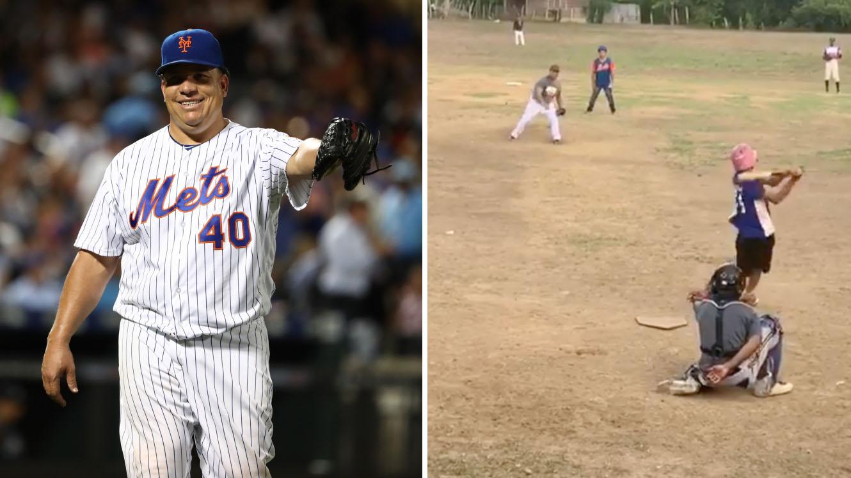 Bartolo Colon: MLB pitcher plays vs kids in Dominican (video)
