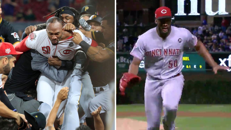 Cubs vs. Reds: Amir Garrett runs away from Kyle Schwarber (video)